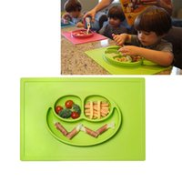 Wholesale Wholeasle ezpz Happy Mat Coral One piece silicone placemat plate BRAND Children s Cups Dishes colors