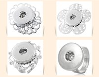 Wholesale 7 styles Noosa button ring Jewelry Interchangeable Metal Snap Button Adjustable Ring Ginger Snap Ring D549M