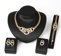 Wholesale Jewelry Sets African Beads Collar Statement Necklace Earrings Bracelet Fine Rings For Women CZ Diamond Vintage Party Accessories k gold