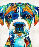 Cheap Giclee colorful boxer dog by sharon cummings sharon cummings oil painting arts and canvas wall decoration