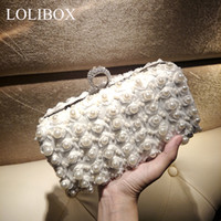 beaded bag making - Custom Made Luxurious Pearl Beads Bridal Hand Bags Best Gift For Bridal Handmade Rhinestone Beaded Clutches Evening Bags For Prom Party ZYY