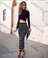 Wholesale New Arrival winter women party maxi dress striped vestidos turtleneck evening sexy casual dresses black long pieces