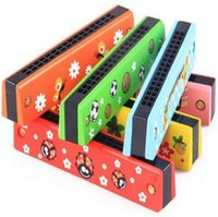 Wholesale Hot Multi color Wooden Painting Harmonica Kids Musical Instrument Educational Craft Toy