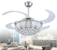 Wholesale small size model ceiling fan light with four changeable light colors and remote control crystal lamp shade