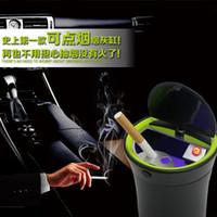 Wholesale Black can light up cigarette holder car ashtray auto portable car cigarette ashtry with blue LED