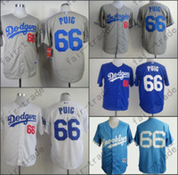 baseball promotions - Promotion Los Angeles Dodgers Yasiel Puig Jersey White Grey Blue Stitched Baseball Jerseys Brooklyn Dodgers Baby Blue