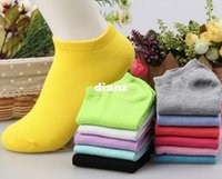 Wholesale Women cotton socks summer cute candy color boat socks for woman ankle sock solid color thin sock slippers