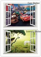 animal scenery - Cartoon Cars Wall Sticker for Boys Room Nursery Decor d View Scenery Wall art Decals living Room Decoration