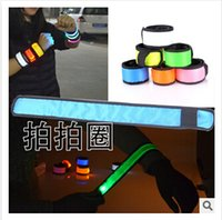 easter led lights - 7 colors Nylon LED Sports Slap Wrist Strap Bands Wristband Light Flash Bracelet Glowing Armband Flare Strap For Party Concert C906