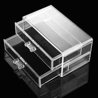 Wholesale Plastic Drawer Shelf Cabinet Desktop Storage Makeup Display Jewelry Organizer Transparent Cosmetic Organizer Storage Case Box W1548
