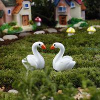 Wholesale 2Pcs set Miniatures White Swan Fairy Garden Decor Crafts Garden Ornament Miniature Figurine Resin Craft Fairy Dollhouse Decor