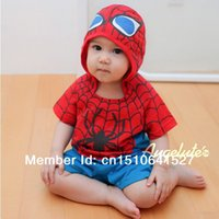 Cheap Cool baby spider man rompers baby boy girl summer one-piece rompers cute children's clothing short sleeve hooded