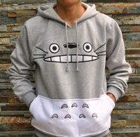 Cheap 3D Mall Autumn Japanese Totoro Cartoon Anime Cosplay Costume Sportswear Women Men Sweatshirt Hoodies with pocket Gray Color
