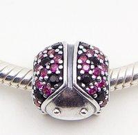 achat en gros de charmes coccinelle-Argent 925 Ladybird paver Bead Charm Fancy Red Cz Fit européenne Pandora Bijoux Collier Bracelets