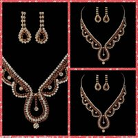 adorned events - Water Drap Luxurious Bridal Necklace And Earring Sets Of Accessories For Bridal Wedding Party Events Beaded Crystal Adorned Cheap Online
