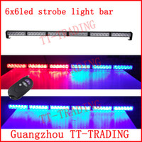 red white led strobe lights - Wireless control Car Strobe Light bar LED Police warning Lights emergency strobe lights DC V inch red blue white amber