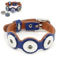 Wholesale 2014 NEW Real Leather Watch Bands Bracelet Buckle Fit Noosa Snap Buttons Blue cm long HOT sale New Arrival