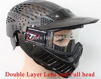 Wholesale Double Layer lens and full face Paintball Mask CS Games for paintball accessories equipment Green or Black color