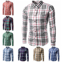 Wholesale Korean Casual Formal Dressing - 2016 Dress Fashion Quality plaid men shirts Long Sleeve Korean Slim Design,Formal Casual Male men business shirt wholesale BY DHL