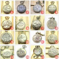Wholesale Classic Antique Fashion Hollow Bronze Pocket Watch Pendant necklace