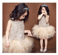 Summer cute dress - Cute Kid Girls Floral Tutu Lace Party Dresses Patchwork Sleeveless Summer Princess Embroider Pleated Ruffles Dresses Champagne Color Western