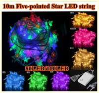 led point - 10M LED multi colors String Five pointed Star Christmas Decoration outdoor led String Lights US EU plug V V with tail plug