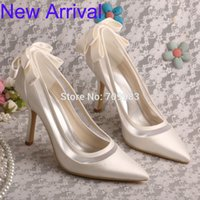 Wholesale Latest Design Satin Pointed Toe Ivory Wedding Bridal Shoes Bow Women Pumps Stiletto Heel
