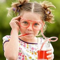 Wholesale New sunglasses drinking straw Funny Kids Colorful Soft Glasses DIY Straw Unique Flexible Drinking Sunglasses Tube Kids Party Gift