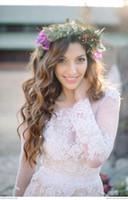 beach waves - Fall Long Poet Sleeves Boho Wedding Dresses Jewel Neck Lace Appliques Chiffon Paneled Bohemian Wedding Dresses