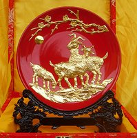Wholesale Three Yang kaitai red lacquer thread sculpture ceramic plate