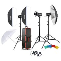 Wholesale Godox Photo Studio Speedlite Lighting Lamp Kit Set with W Studio Flash Strobe Light Stand Softbox Soft Reflector Umbrella