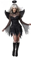 Wholesale fast ship Easter new arrive adult size halloween costumes black sexy angel women dress for