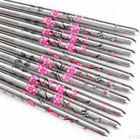 Wholesale Pairs Stainless Steel Chinese Chopsticks Plum Flower Pattern Minion Chop Sticks