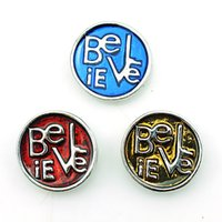 buttons wholesale - New Fashion Color Round Alloy Letter Clasps DIY Interchangeable Noosa mm Snap Buttons Jewelry Accessories NKC0017