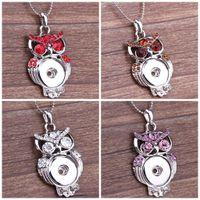 6 Styles NOOSA Jolie Owl Pendentif cristal Collier Aligner chunck Bouton Charm Pendentif bijoux interchangeables DHL E325J