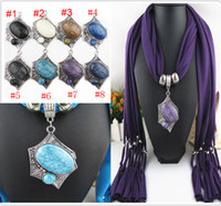 Wholesale Scarf Jewelry with Beads Pendant Scarves Jewellery Fashion Charms Necklace Mix Color Ladies Scarfs top quality FreeDHL E85L