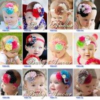 Wholesale 10Pcs colors New Arrival Baby Flower Headbands girls rhinestone headbands Christmas gift headwear x021