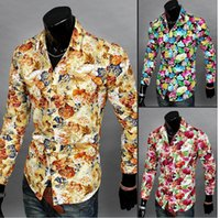 Wholesale 2015 Mens Long Sleeves Flower Printing Shirt Slim Fit Luxury Casual Stylish Dress Shirts