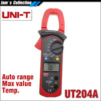 Wholesale UNI T UT204A digital clamp multimeters auto range temperature AC DC current clamp meter uni t UT A ammeter voltmeter