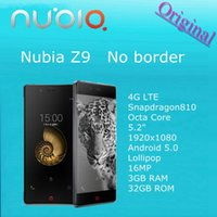 Wholesale 21usd free gift Original ZTE Nubia Z9 G LTE Mobile Phone Snapdragon810 Octa Core quot x1080 Android Lollipop MP GB RAM GB ROM