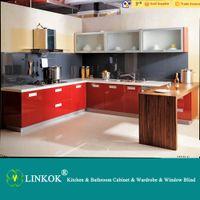 Wholesale Linkok Furniture Modern Red High Gloss UV Lacquer Kitchen Cabinet E1 grade material