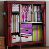 Wholesale Triple Portable Clothes Wardrobe Closet Cabinet Garment Rack with Free Storage Boxes Home Furniture