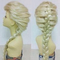 Wholesale Cheap cartoon fashion Synthetic Cosplay Frozen hair long Curly Frozen hair wigs Snow Queen Anna Children Adult Long Braid Anime Wigs