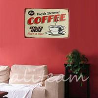 bathroom metal plaque - Lowest Price Coffee Metal Home Shop Pub Wall Garage Shabby Vintage Sign Tin Plaque Decoration Painting x300mm