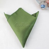 Wholesale 100 Willow Olive Green Satin Dinner Napkin quot Square Men Pocket Handkerchief Multi Purpose Wedding Banquet