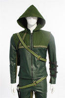 Wholesale 2015 Green Arrow Cosplay Costumes Superhero for men leather jacket leather pants Oliver Queen men Carnival costume