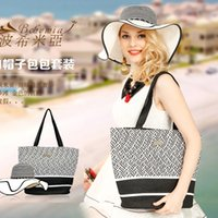Cheap (Hat + Bag) Set Straw Beach Bag Women Handbag Girls Straw Hat Wide Brim Hats Bohemia Summer Hat + Handbags 2015 Fashion Bags