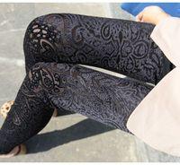 Wholesale lady simple elegant designer pant women black navy blue luxury leggings vintage floral pencil pants spring autumn long trousers