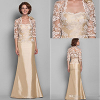 ankle length dresses - Fashion Gold A Line Strapless Floor Length Lace Handmade Flower Taffeta Hot Sale Mother of the Bride Dress with Jacket