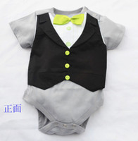 baby tuxedo bodysuit - Doomagic Baby One pieces Romper Green Bowties Tuxedo Vest Bodysuits Gentleman bodysuit TOP QUALITY style Retail Drop Shipping